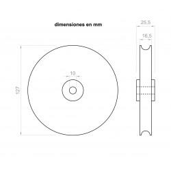 Polia 25,5 mm de largura 127 mm de diâmetro exterior, para eixos de 10 milímetros