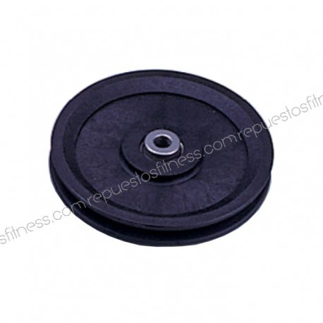 Pulley has a 25.5 mm wide, 127 mm of outer diameter to axis of 10 mm