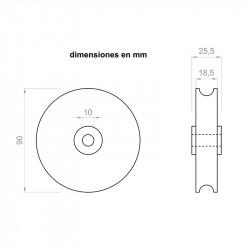 Polia 25,5 mm de largura e 90 mm de diâmetro exterior, para eixos de 10 milímetros