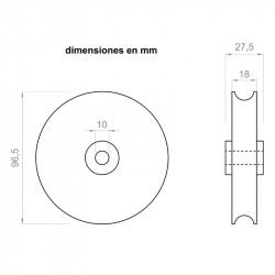 Riemenscheibe 27,5 mm - breite 96,5 mm - außen-ø für achsen von 10 mm