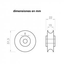 Polea 22 mm de ancho 51,3 mm de diámetro exterior para ejes de 8 mm