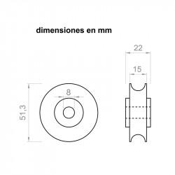 Puleggia 22 mm 51,3 mm diametro esterno per alberi 8 mm
