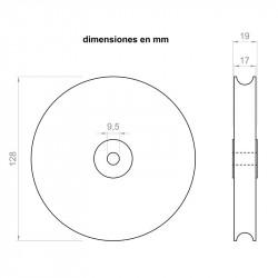 Puleggia 19 mm larghezza 128 mm di diametro esterno all'asse di 9,5 mm