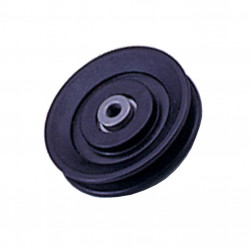 Pulley has a 25.5 mm wide by 100 mm of outer diameter to axis of 9.5 mm