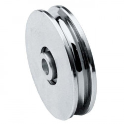 Pulley zinc-plated steel 22mm wide by 118mm outer for axis of Ø12mm