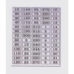 Etiquetas con números negros y fondo blanco