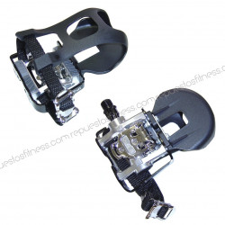 "Dual mixed spinning pedal VP-X93 aluminum, it includes toe clip and strap 9/16"" - pair"