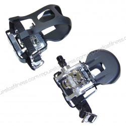 """Pédales de spinning mixte automatique VP-X93 aluminium 9/16"""" avec strap et cale pied - la paire"""