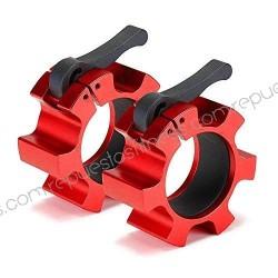 Casal braçadeira amortecedor de fecho barra olímpica crossfit 5cm vermelho alumínio