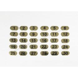 Conjunto de etiquetas com números dourados do 1 ao 30, com incrementos de 1 em 1