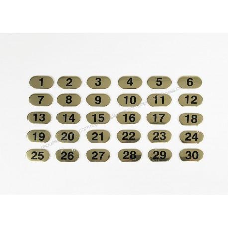 Conjunto de etiquetas con números dorados del 1 al 30 con incrementos de 1 en 1