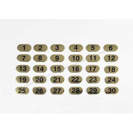 Set of labels with golden numbers from 1 to 30 with increments of 1-in-1