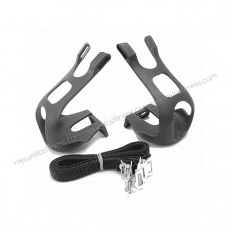 Cale pied long et straps en nylon pour vélo de spinning- la paire