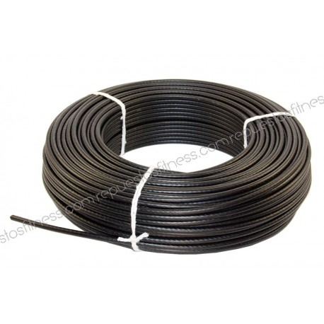 50 mètres de câble en acier plastifié de 5 mm pour appareils de musculation et de fitness.